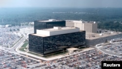 FILE - An undated aerial handout photo shows the National Security Agency (NSA) headquarters building in Fort Meade, Maryland.