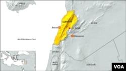 Lokasi serangan udara Israel di dekat desa Janta, Suriah Timur, Senin (24/2).