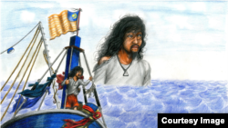 Artist Prum Vannak's illustration of his experience as a modern slave on a Malaysian fishing vessel. (Courtesy of Seven Stories Press)