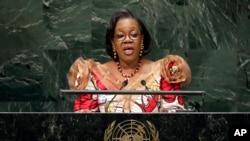 Pemimpin sementara Republik Afrika Tengah, Catherine Samba-Panza, saat memberikan sambutan di hadapan Sidang Majelis Umum PBB di New York (Foto: dok).