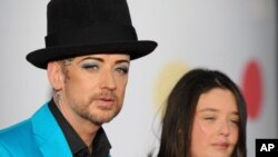 Boy George seen arriving at the BRIT Awards 2013 at the o2 Arena on Feb. 20, 2013, in London.