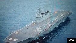 """去年3月服役的日本第二艘最大型護衛艦""""加賀""""號(海上自衛隊提供檔案資料)"""