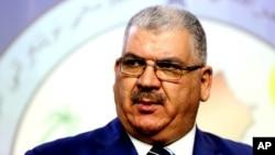 Nhà lập pháp Sunni Khaled al-Obeidi trong 1 cuộc họp báo ở Baghdad, Iraq, 18/9/2014.