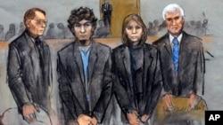 지난달 8일 보스턴 폭탄 테러범 조하르 차르나예프 재판이 열리고 있다.
