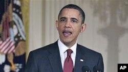 Shugaba Barack Obama yana jawabi a kan kasar Libya, a fadar White House.
