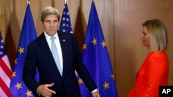 US Secretary of State John Kerry speaks meets with EU foreign ministers in Brussels.
