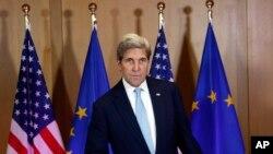 Ngoại trưởng Hoa Kỳ John Kerry đến gặp các đối tác EU ở Brussels, ngày 18/7/2016.