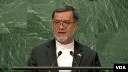 سرور دانش، معاون دوم رئیس جمهور افغانستان حین ایراد بیانیه در مجمع عمومی ملل متحد