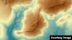 Terrain in the mountains to the north of Angkor. (Courtesy image of The Cambodian Archaeological Lidar Initiative)