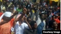 The Ethiopian government's renewal of a MIDROC mining license sparks protests in the country's south, including in the Oromia region's town of Goro Dola, May 3, 2018. (Courtesy photo)