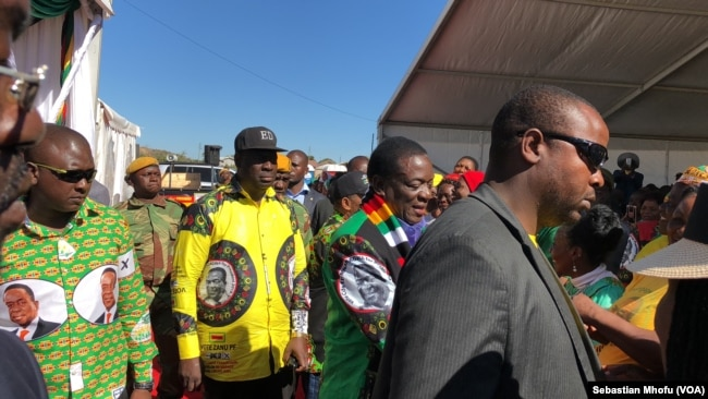 President Emmerson Mnangagwa is calling for a peaceful election from which he said all Zimbabweans can prosper. In the file photo, on June 9, 2018 he is at a Zanu PF rally in Mutoko, about 200km east of Harare.