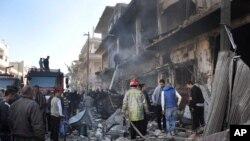محل انفجار های دوگانه در شهر حمص سوریه