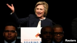 U.S. Democratic presidential candidate Hillary Clinton speaks at the Eagle Academy Foundation's annual fundraising breakfast in New York City, April 29, 2016.