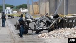 بمب در این اتومبیل در مقابل دفتر سازمان ملل متحد در موگادیشو کار گذاشته شده بود.