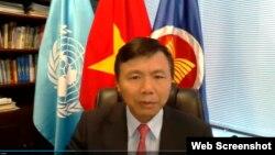 Đại sứ Việt Nam tại LHQ Đặng Đình Qúy, phát biểu trực tuyến ngày 26/8/2020. Photo UN WebTV.
