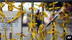 Những dải băng màu vàng và hoa được gắn trước cổng chính của trường trung học Danwon ở Ansan, ngày 24/4/2014 như dấu hiệu của niềm hy vọng cho sự trở về an toàn của các học sinh mất tích trong vụ chìm phà.