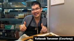 "Yuttasak Tanawan, ""Chef Tang"" during his live show on social media in Washington,DC. Oct 2020."