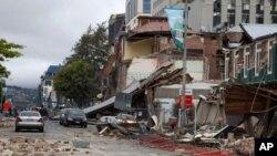 کرائسٹ چرچ کی مانچسٹر اسٹریٹ میں زلزلے سے تباہی کا ایک منظر