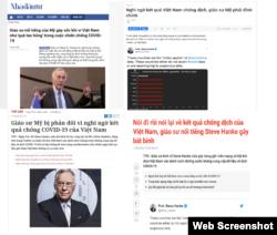 Truyền thông Việt Nam đồng loạt chỉ trích giáo sư Steve Hanke, từ trái sang: báo Nhà Đầu tư, Thanh niên, Tiền phong, Tuổi trẻ