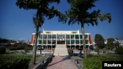 City hall venue for the 18th South Asian Association for Regional Cooperation (SAARC) summit, Kathmandu, Nov. 10, 2014.