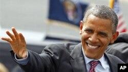 5일 미 민주당 전당대회가 열린 노스캐롤라이나주 샬럿에 도착한 바락 오바마 대통령.