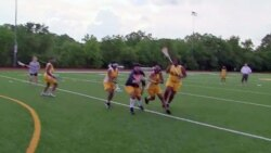 Members of the lacrosse team practice at Ballou High School in Washington