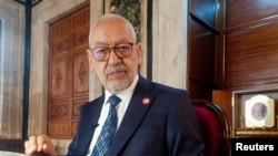 FILE - Parliament Speaker Rachid Ghannouchi, head of the Islamist Ennahda, is pictured in Tunis, Tunisia, March 9, 2021. Resignations of 113 party members on Sept. 25, 2021, followed charges that the party has failed to counter what they view as a presidential takeover.