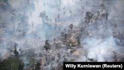 Asap menutupi hutan saat kebakaran di Kabupaten Kapuas dekat Palangka Raya di provinsi Kalimantan Tengah, 30 September 2019. (Foto: REUTERS/Willy Kurniawan)