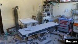 یک اتاق جراحی ویران شده در حلب پس از بمبارانها