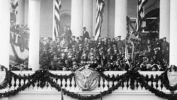 Calvin Coolidge making speech at his inauguration in 1925