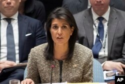 FILE - Nikki Haley, U.S. ambassador to the United Nations, speaks during a Security Council meeting on the situation in North Korea, Nov. 29, 2017 at United Nations headquarters in New York.