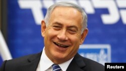 FILE - Israeli Prime Minister Benjamin Netanyahu attends a Likud party meeting at the Knesset, the Israeli parliament, in Jerusalem, May 30, 2016. A French official has confirmed invitations have been sent to Netanyahu and Palestinian leader Mahmoud Abbas to attend a face-to-face meeting.