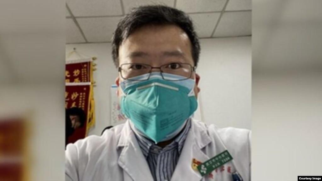 """武汉新型冠状病毒疫情的""""吹哨人""""李文亮医生(photo:VOA)"""