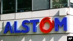 FILE - View of Alstom headquarters outside Paris.