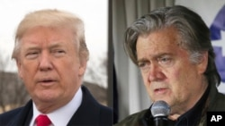 FILE - President Donald Trump, left, and former White House Chief Strategist Steve Bannon.