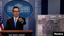 U.S. Treasury Secretary Steven Mnuchin briefs on North Korea at the White House in Washington, U.S., February 23, 2018.
