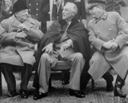 A lighter moment in Yalta as Churchill smokes a cigar