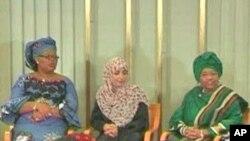 As vencedoras do Nobel da Paz (da esquerda para a direita: Ellen Johnson Sirleaf,Tawakkol Karman e Leymah Gbowee