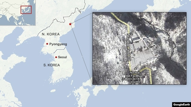 Location of the nuclear test site in North Korea