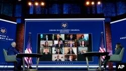 美國預期當選總統拜登與副手哈里斯11月9日與新成立的新冠疫情諮詢委員會開會