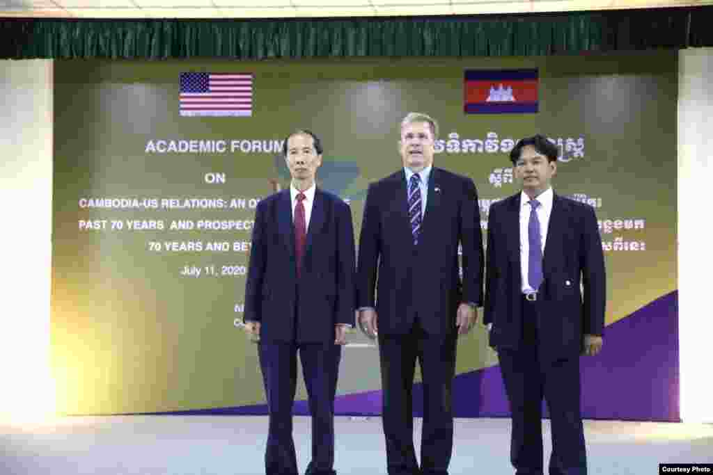 U.S. Ambassador W. Patrick Murphy co-hosts an academic forum with the Royal Academy of Cambodia to commemorate US-Cambodia 70th-year of diplomatic relations, in Phnom Penh, Cambodia, July 11, 2020. (Photo courtesy of U.S. Embassy in Cambodia)