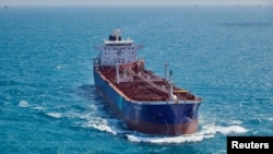 Kapal tanker minyak BW Rhine di Selat Singapura dalam foto selebaran tahun 2018. (Hafnia / Handout via REUTERS)