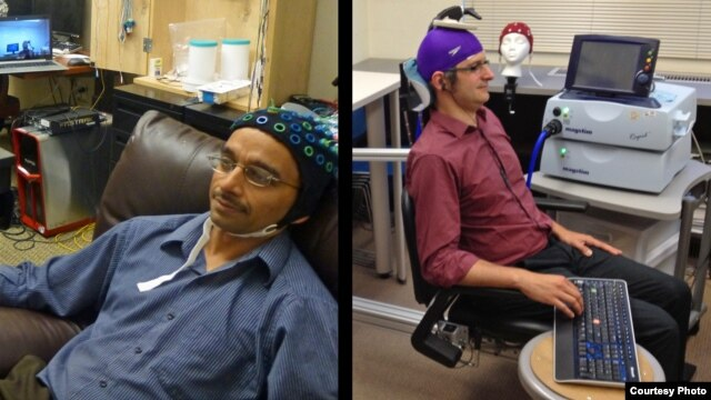 University of Washington researcher Rajesh Rao, left, plays a computer game with his mind. Across campus, researcher Andrea Stocco, right, wears a magnetic stimulation coil over the left motor cortex region of his brain. (Credit: University of Washington)