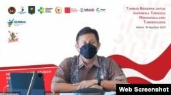 Menteri Kesehatan, Budi Gunadi Sadikin dalam webinar Peluncuran Peraturan Presiden Nomor 67 Tahun 2021 Tentang Penanggulangan Tuberkulosis, Kamis, 19 Agustus 2021. (Foto: VOA)