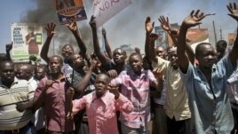 Residents protest the results of the Orange Democratic Movement primary elections in Kisumu in western Kenya, January 20, 2013.