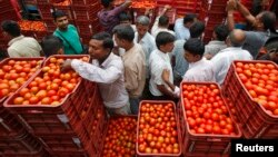 چندی گڑھ کی ایک سبزی مارکیٹ میں ٹماٹروں کی خرید و فروخت کا منظر (فائل)