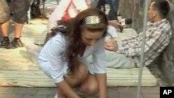 ایک مظاہرے کے دوران یوکرین میں ایچ آئی وی کی ٹیسٹنگ کا ایک منظر