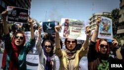راهپیمایی روز قدس، آخرین جمعه ماه رمضان، در تهران، ایران- ۳ امرداد ۱۳۹۳