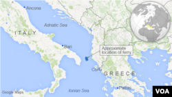 Map showing location of Greek ferry fire