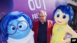 """FILE - In this Monday, June 8, 2015 file photo, Actor Lewis Black, center, at the first showing in Los Angeles of """"Inside Out."""" He is the voice of Fear in the animated film."""